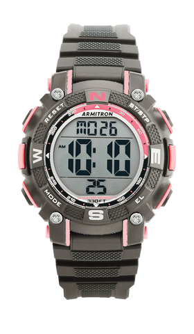 Digital Chronograph Watch with Grey Resin Strap and Pink Accents- 38MM / Grey / 38mm