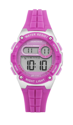 Digital Sport Watch with Purple Silicone Strap and Silver Accents- 36MM / Purple / 36mm