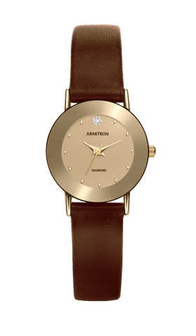 Brown Leather Strap with Light Champagne Dial and Genuine Diamond at 12H- 40MM / Brown / 40mm