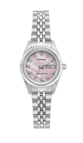 Women's Silver-Tone Pink Mother-of-Pearl Dress Watch with Swarovski Crystals- 75/2475PMSV / 24mm / Silver-Tone