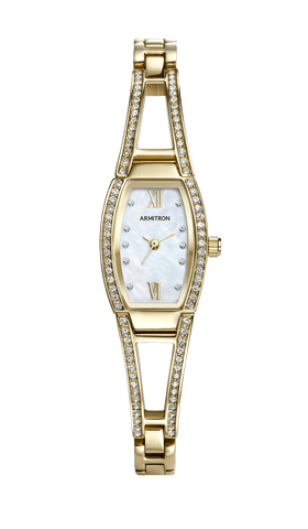 Gold-Tone Watch and Bangle Set with Mother-of-Pearl Dial and Swarovski Crystal Accents- 33.5MM