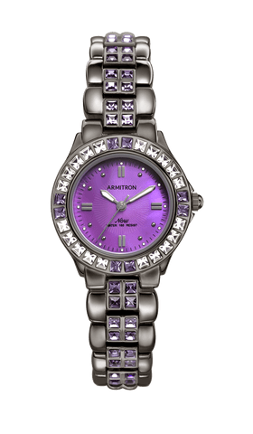 Dark Gun Dress Bracelet Watch with Mother-of-Pearl Dial and Swarovski Crystal Accents- 27MM / Gray / 27mm