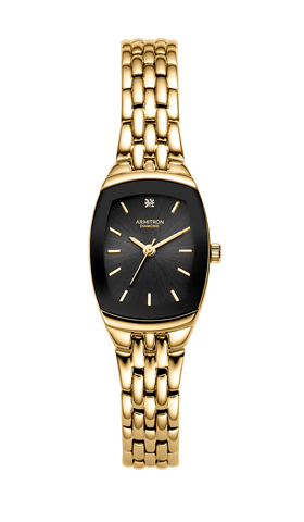 Women's Cushion Case Diamond Accented Black Dial Gold-Tone Bracelet Watch- 75/5195BKGP / Black / 21mm