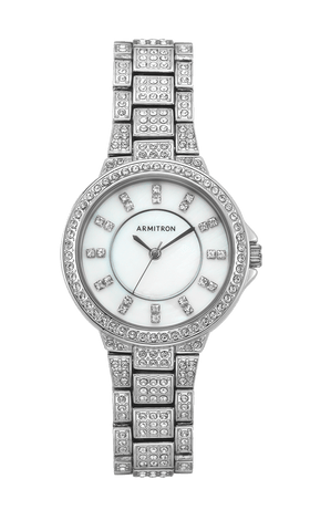 Silver-Tone Dress Bracelet Watch with Swarovski Crystal Accents- 42MM / Silver / 42mm
