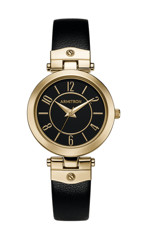 Gold-Tone Plated Analog Watch with Black Leather Strap- 40MM / Black / 40mm
