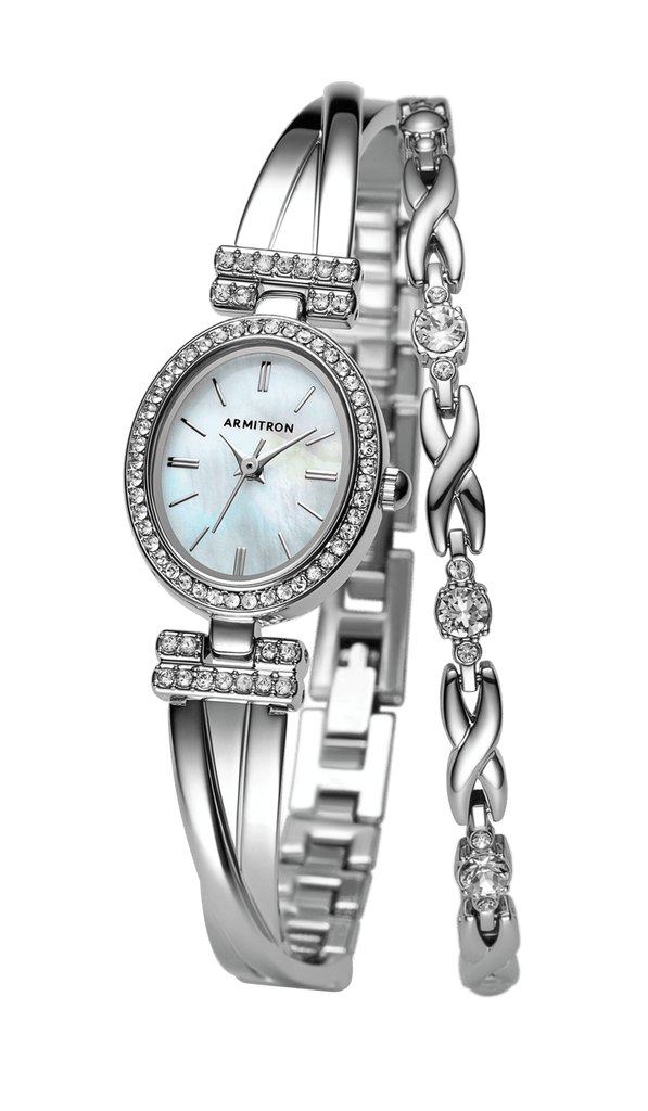 2 pc. Silver-Tone Watch & Bracelet Set with Swarovski Crystal Accents- 25MM