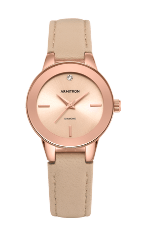 Blush Leather Strap Watch with Genuine Diamond Accent- 30MM / Pink / 30mm