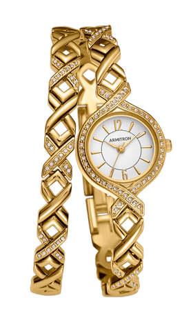 Women's Glossy White Dial Wristwatch with Swarovski Crystals / Gold Tone / 32mm
