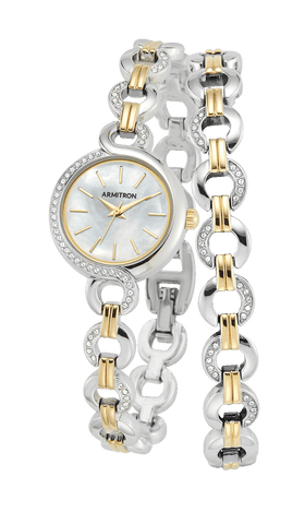 Two-Tone Watch and Bracelet Set with Swarovski Crystal Accents- 38.5MM / Gold Silver Two-Tone / 38.5mm