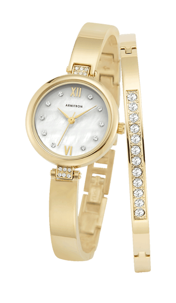 Gold-Tone Watch and Bangle Set with Mother-of-Pearl Dial and Swarovski Crystal Accents- 33.5MM - Armitron