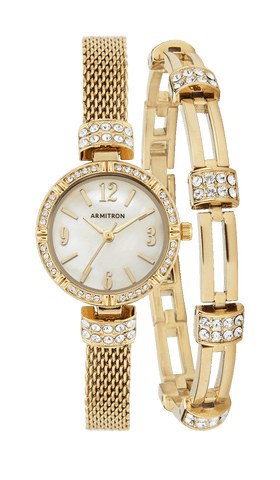 2 pc. Watch and Bracelet Set with Swarovski Crystal Accents- 24MM