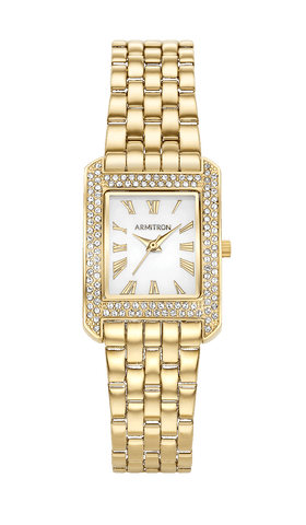 Square Gold-Tone Dress Bracelet Watch with Swarovski Crystal Accents- 23MM x 31.5MM / Gold / 23mm x 31.5mm