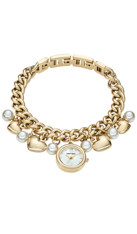 Gold-Tone Charm Bracelet with Pearl Charms and Gold-Tone Hearts- 20MM / Gold / 20mm
