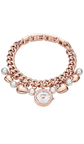 Rose Gold-Tone Charm Bracelet with Pearl Charms and Rose Gold-Tone Hearts- 20MM / Rose Gold / 20mm
