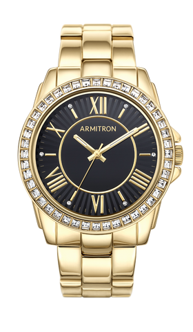 Gold-Tone Bracelet with Black Dial and Swarovski Crystal Accents- 34MM
