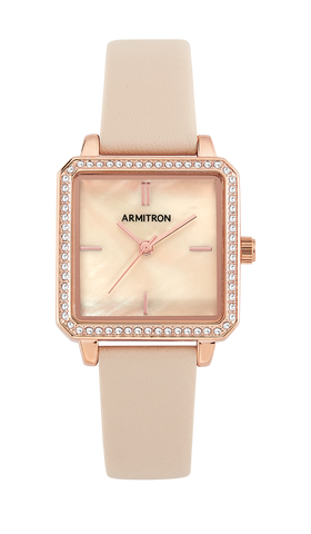 Blush Genuine Leather Strap Watch with Swarovski Crystal Accents- 26.5MM / Blush / 26.5MM