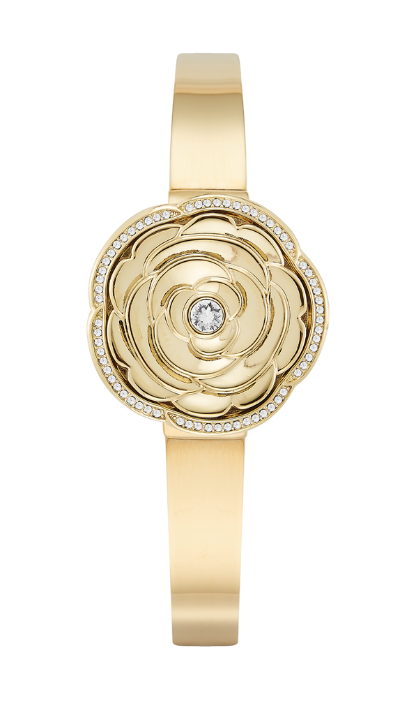 Gold-Tone Flower Covered Dial Bangle with Swarovski Crystal Accents- 30MM