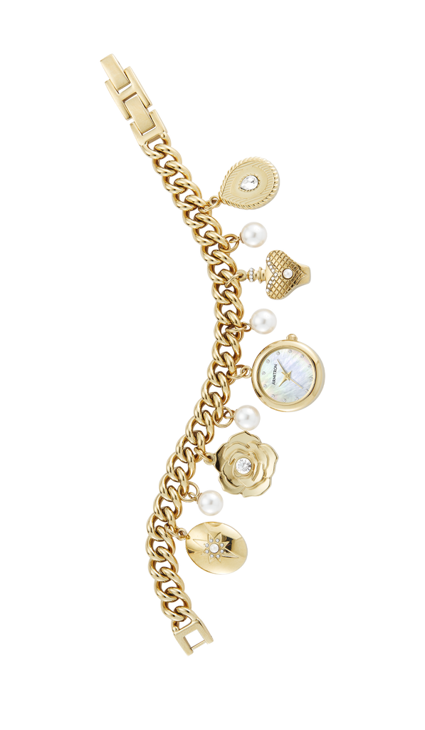 Gold-Tone Charm Bracelet with Swarovski Crystal and Pearl Accents- 22.5MM