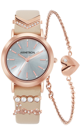 Genuine Leather Watch, Bracelet and Strap Charm Set -  28MM / Blush, Rose-Gold / 28mm