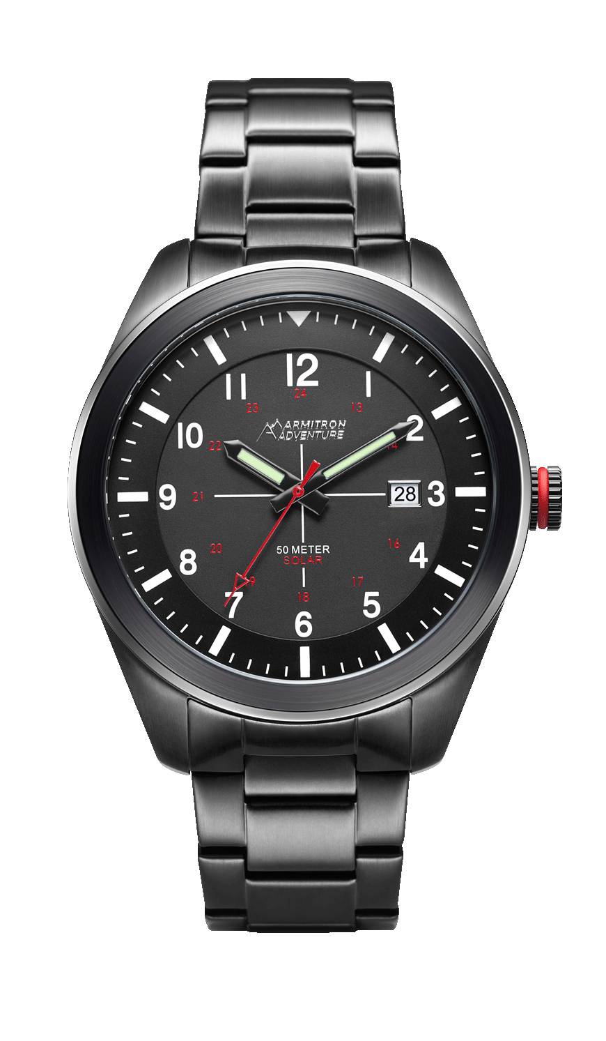 Solar-Powered Analog Watch with Black Stainless Steel Bracelet- 46MM