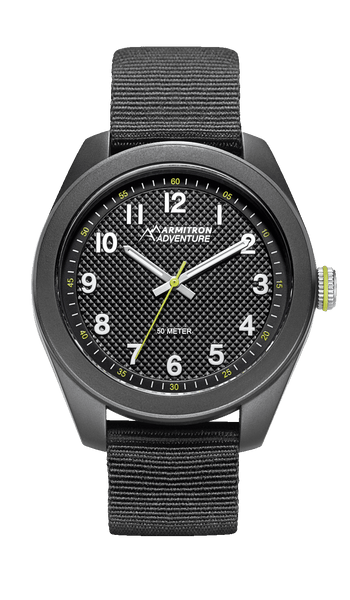 All Black Analog Watch with Black Nylon Strap- 43MM - Armitron