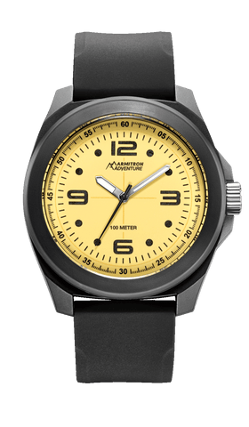 Analog Watch with Black Silicon Strap and Yellow Luminous Dial- 43MM / Black / 43mm