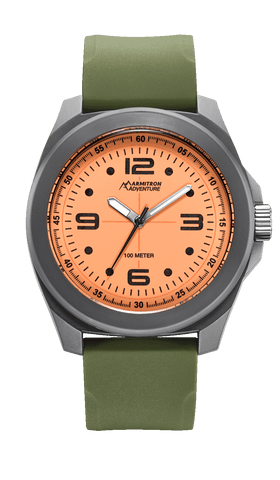 Analog Watch with Green Silicon Strap and Orange Luminous Dial- 43MM / Green / 43mm