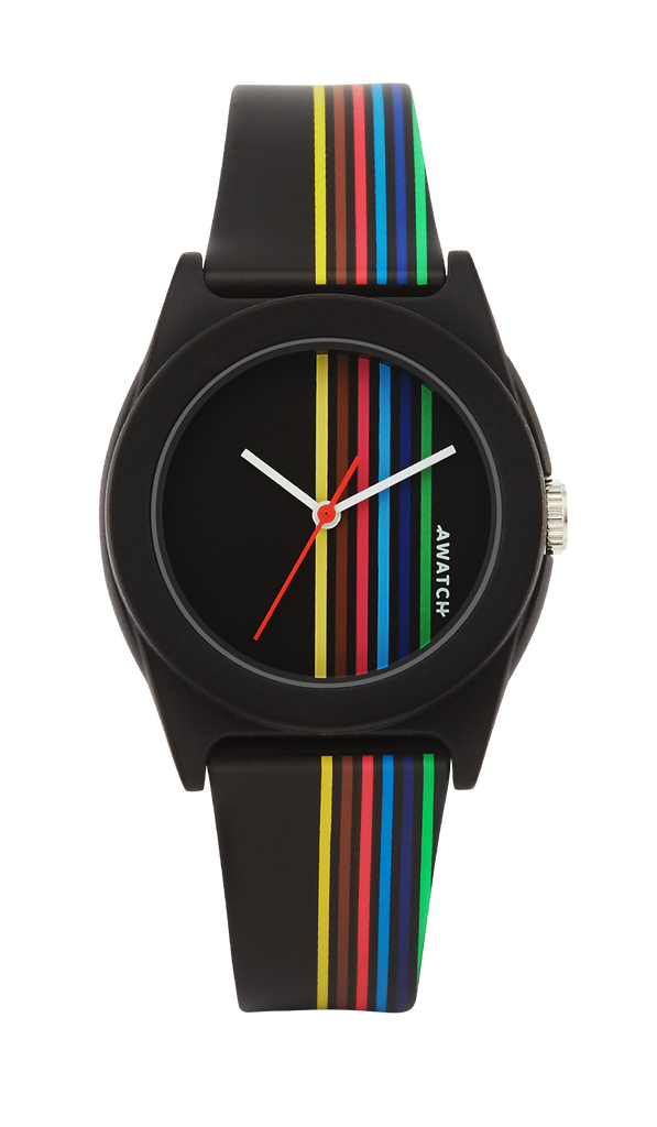AWATCH Resin Strap Watch with Vertical, Multi-Color Stripes- 35.5MM
