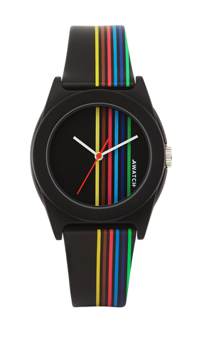 AWATCH Black Resin Strap with Multi-Colored Vertical Stripes- 35.5MM / Black / 35.5