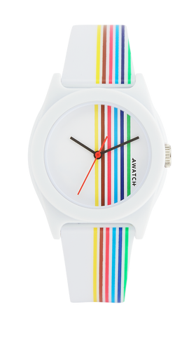 AWATCH White Resin Strap with Multi-Colored Vertical Stripes- 35.5MM / White / 35.5