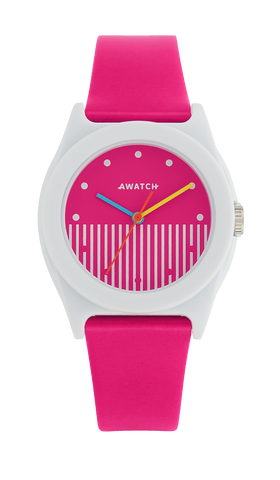 AWATCH Pink Resin Strap Watch with Vertical Dial Design- 35.5MM / Pink / 35.5
