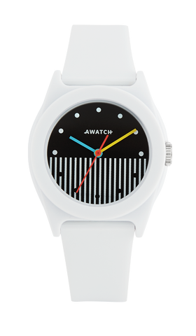 AWATCH White Resin Strap Watch with Vertical Dial Design- 35.5MM / White / 35.5