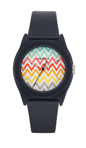 Navy Blue Resin Strap Watch with Multi-Colored Zig Zag Pattern on Dial- 35.5MM / Blue / 35.5