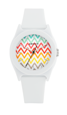 AWATCH White Resin Strap Watch with Multi-Colored Zig Zag Pattern on Dial- 35.5MM / White / 35.5