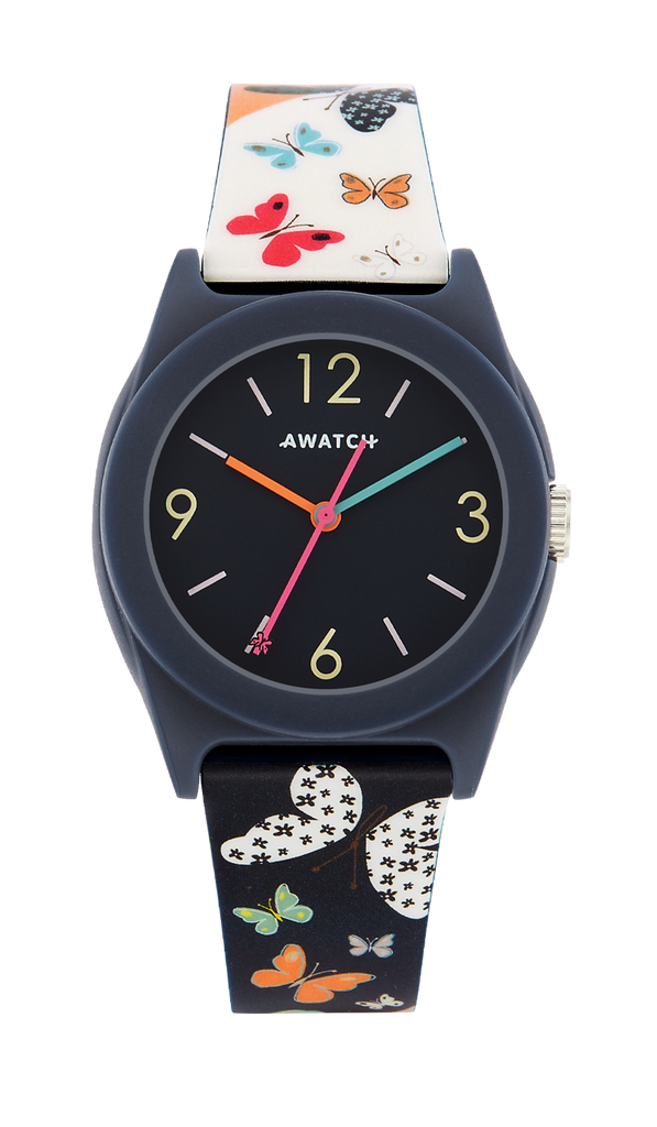 AWATCH Navy Blue Resin Strap with Multi-Color, Multi-Butterfly Pattern- 35.5MM