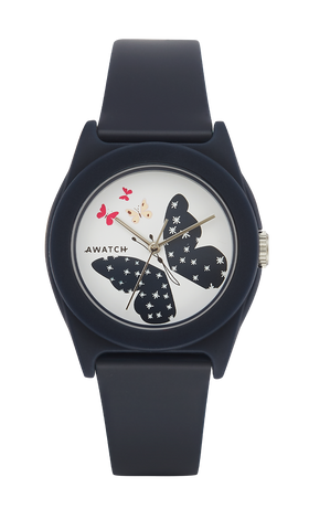 AWATCH Navy Blue Resin Strap with Butterfly Dial Design- 35.5MM / Blue / 35.5