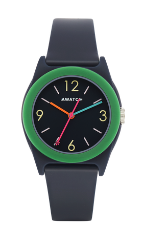 AWATCH Navy Blue Resin Strap Watch with Dark Green Resin Bezel- 35.5MM / Blue / 35.5
