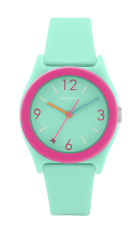 AWATCH Light Teal Resin Strap Watch with Dark Pink Resin Bezel- 35.5MM / Teal / 35.5
