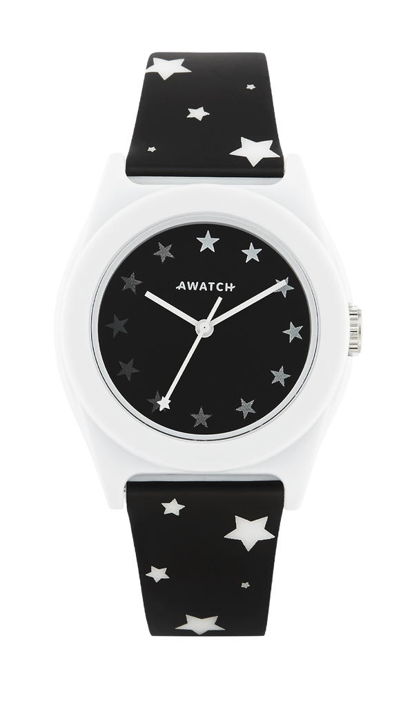 AWATCH Black Resin Strap Watch with White Printed Star Pattern- 35.5MM