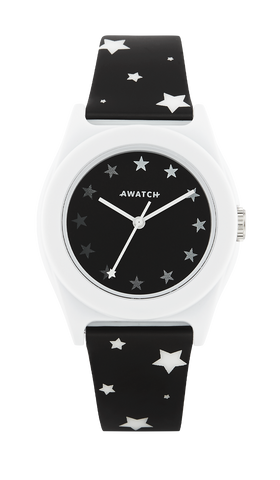 White and Black Dot/Stripe Resin Strap Watch- 35.5MM