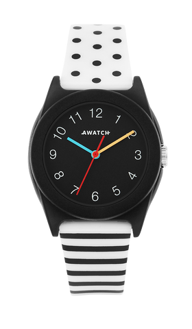 AWATCH White and Black/Dot Stripe Resin Strap with Black Bezel- 35.5MM / Black / 35.5