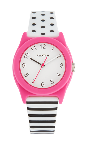 AWATCH White and Black Dot/Stripe Resin Strap Watch with Dark Pink Bezel- 35.5MM / Pink / 35.5
