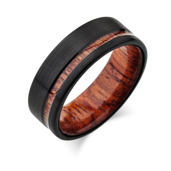 Tungsten Wedding Bands - Koa Wood - Turquoise - Deer Antler - Pearl Inlays - Meteorite