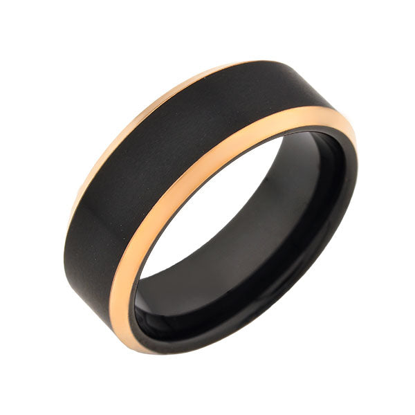 Black Tungsten Wedding Band -Rose Gold - Beveled Edges - Black Brushed Ring - 8mm Ring - Mens Ring - LUXURY BANDS LA