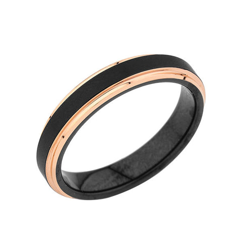 Black Tungsten Wedding Band - Black Brushed Ring - Rose Gold - 4mm Ring - His and Hers Ring - LUXURY BANDS LA