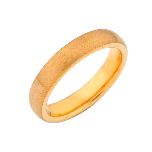Yellow Gold Brushed -  Tungsten Wedding Band -  4mm Bridal Band - Engagement Ring - His and Hers Rings