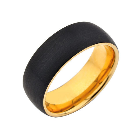 Black Brushed Tungsten Wedding Band - Yellow Gold Interior - 8mm Ring - Unique - Comfort Fit - LUXURY BANDS LA