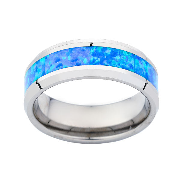 Mens Opal Tungsten Ring - Dome Ring-  Mens Opal Engagent Band - Comfort Fit - Unique Ring - LUXURY BANDS LA