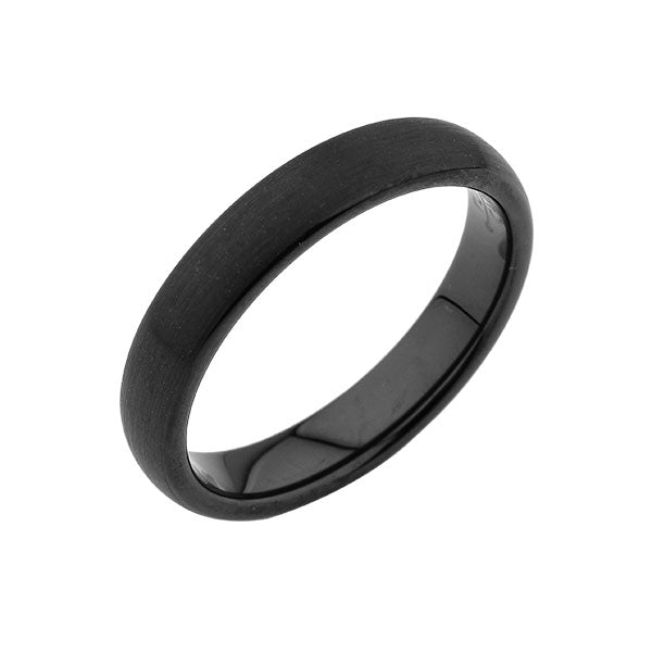 Tungsten Wedding Band - Brushed Black Ring - 4MM - Unisex Ring - Dome - Tungsten Carbide- Engagement Band - Comfort Fit