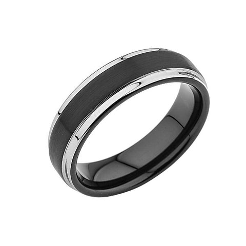 Black Tungsten Wedding Band - 6MM - Silver - Stepped Edges - Unique - Mens Ring - LUXURY BANDS LA